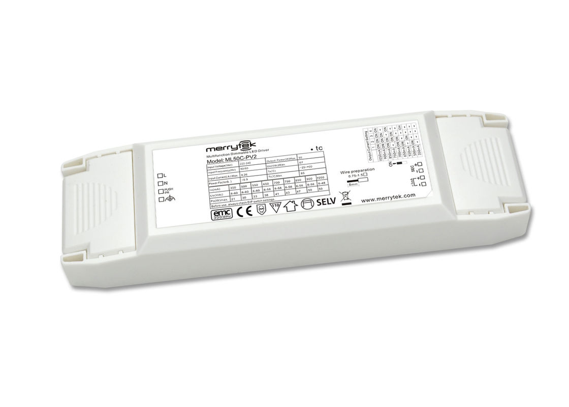 Multi - Output 1-10V Dimmable LED Driver 50W For LED Panel Light , RoHS